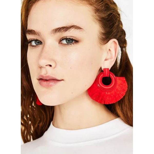 Tassel No Stone Dangle Earrings (1855400023, Blue;red;yellow