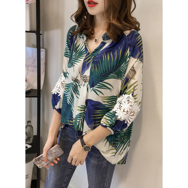 Floral Collar 3/4 Sleeves Blouses (1645268339) 10