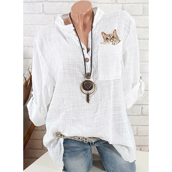 Solid Casual Collar 3/4 Sleeves Blouses (1645540010)