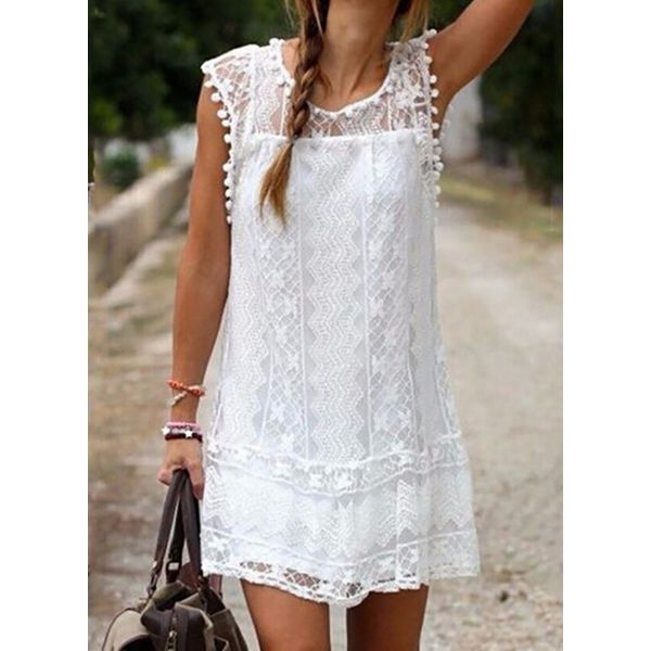 Casual Solid Lace Round Neckline Shift Dress (1955559039)