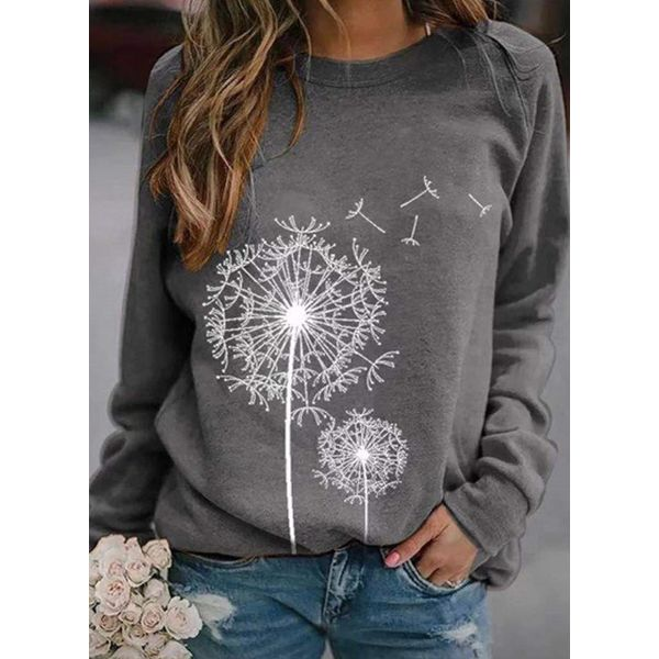 Floral Round Neck Long Sleeve Casual T-shirts (1685558138)