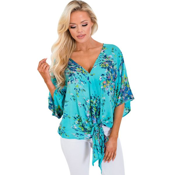 Plus Size Floral Casual V-Neckline 3/4 Sleeves Blouses (1645377798, Blue