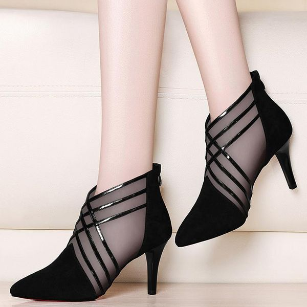 Pointed Toe Stiletto Heel Shoes (1625401017, Black;gray
