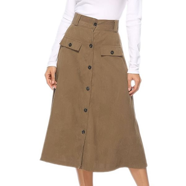 Color Block Mid-Calf Casual Buttons Skirts (1725377591) 2