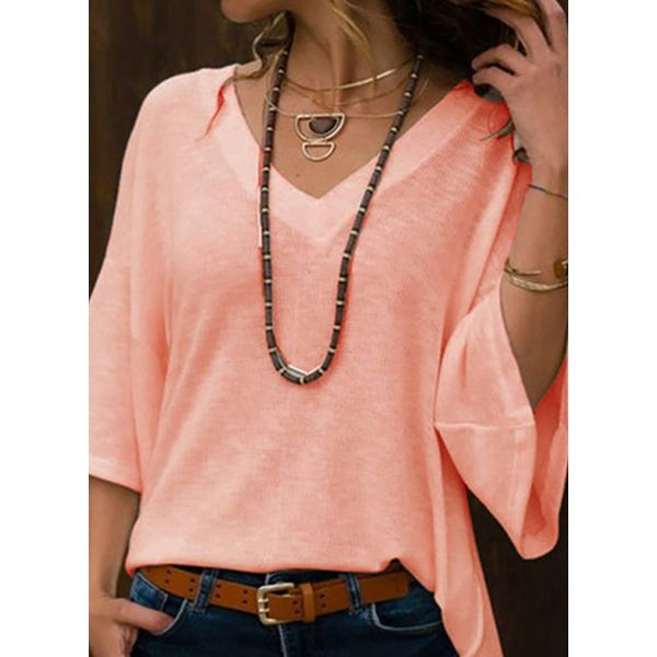 Solid Casual V-Neckline 3/4 Sleeves Blouses (1645574036)