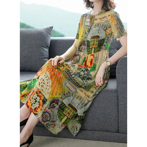 Casual Floral Tunic Round Neckline Shift Dress (1955594848)