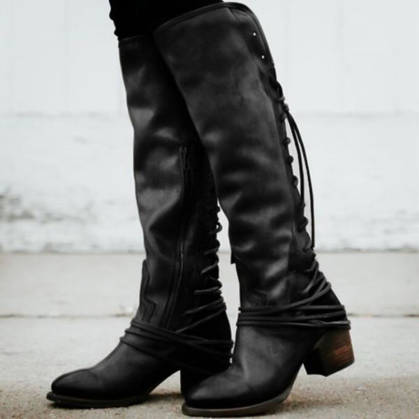 Lace-up Mid-Calf Boots Chunky Heel Shoes (1625378855) 1