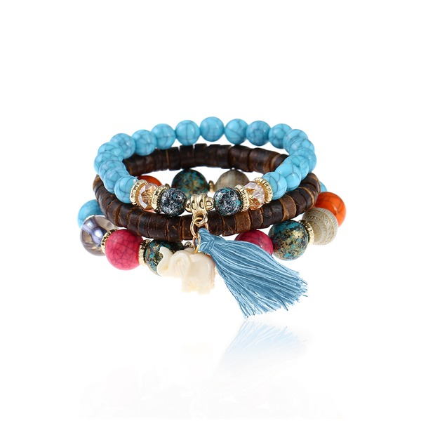 3pcs Tassel Ball No Stone Beaded Bracelets (1865283164) 6