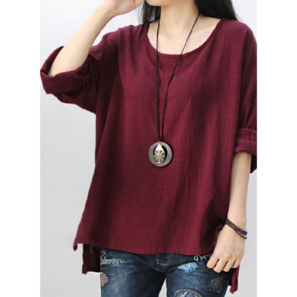 Solid Casual Round Neckline Long Sleeve Blouses (1645442068)