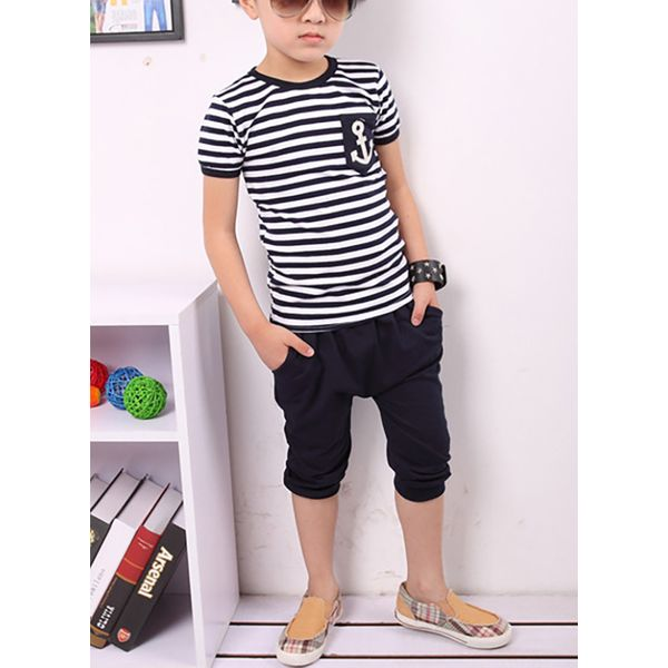 Boys' Casual Color Block Daily Short Sleeve Clothing Sets (30165382275) 9