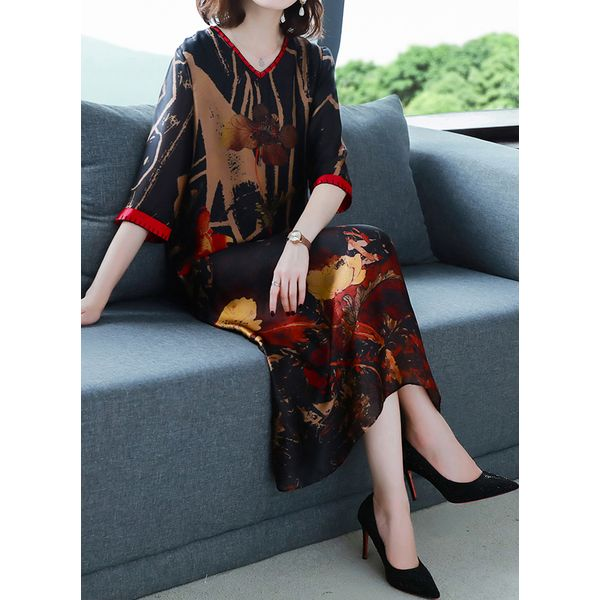 Chinese Casual Floral Tunic V-Neckline A-line Dress (1955597072)