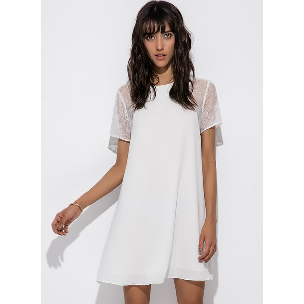 Solid Hollow Out Short Sleeve Above Knee A-line Dress (1955124160) 4
