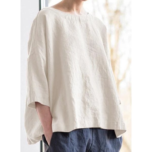 Solid Casual Round Neckline 3/4 Sleeves Blouses (1645575317)