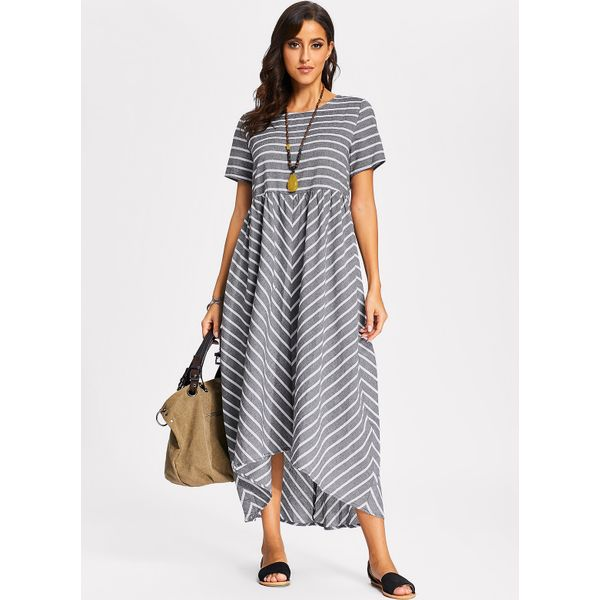 Stripe Short Sleeve Maxi A-line Dress (01955382313) 11