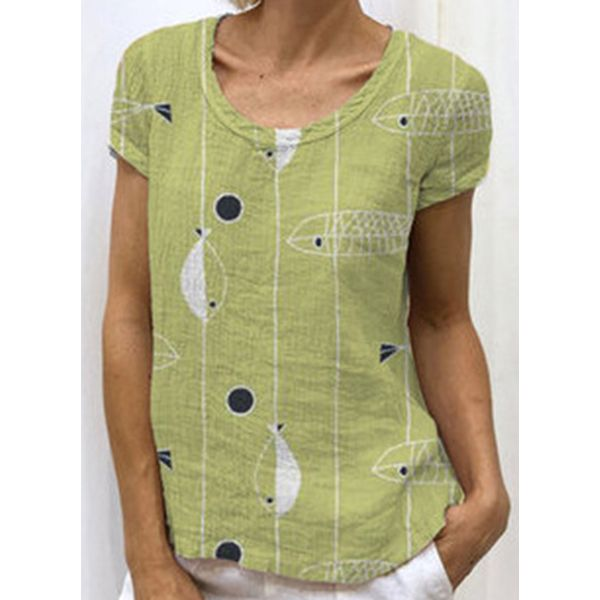 Color Block Round Neck Short Sleeve Casual T-shirts (1685423039, Green