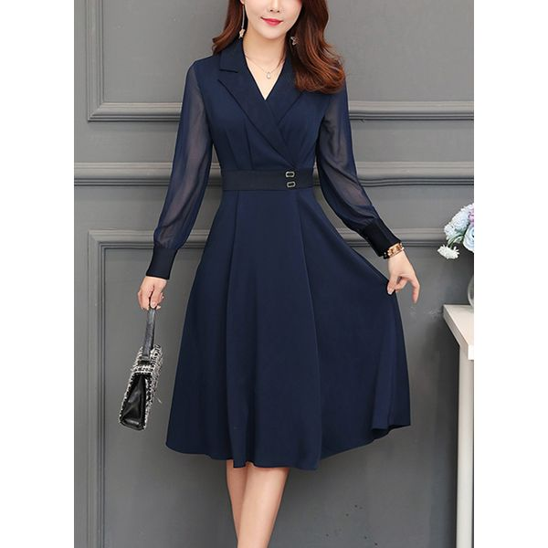 Solid Sashes Collar Knee-Length A-line, Dress (1955340815)