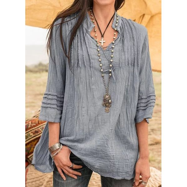 Solid Casual Collar 3/4 Sleeves Blouses (1645547346)