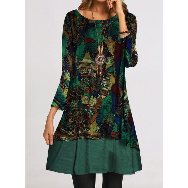 Casual Floral Tunic Round Neckline Shift Dress (1955516867)