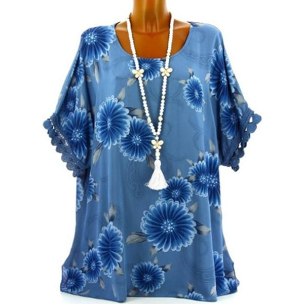 Floral Casual Round Neckline Half Sleeve Blouses (1645382439) 3