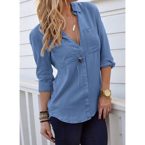 Solid Casual Collar Long Sleeve Blouses (1645262819) 6