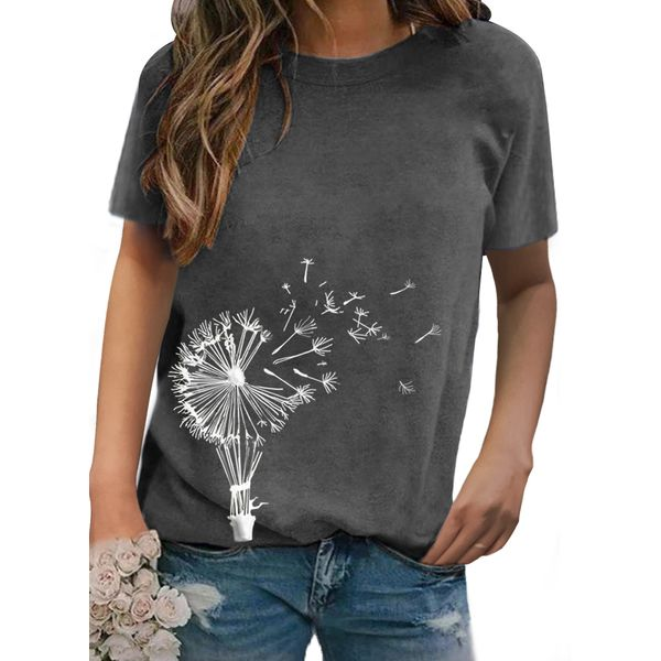 Floral Round Neck Short Sleeve Casual T-shirts (1685565237)