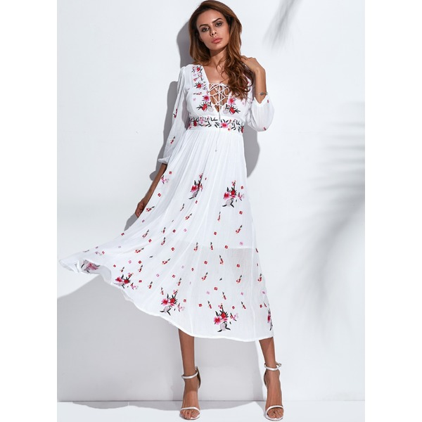 Floral Appliques 3/4 Sleeves Midi A-line Dress (1955131470) 9