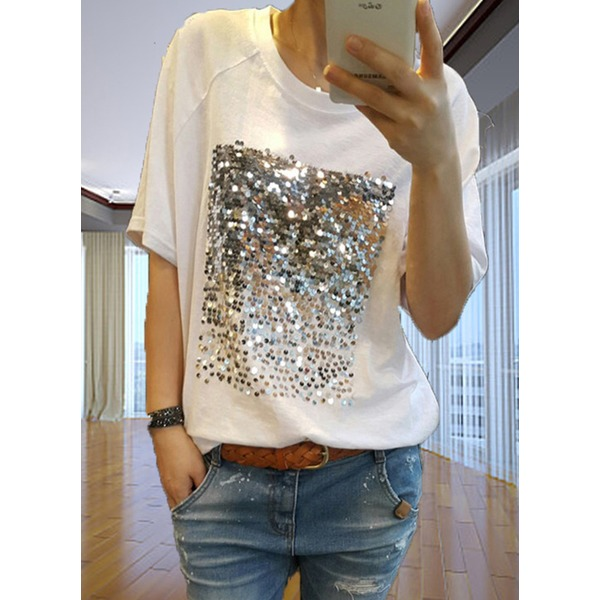Cotton Solid Round Neck Short Sleeve T-shirts (1685271703) 11