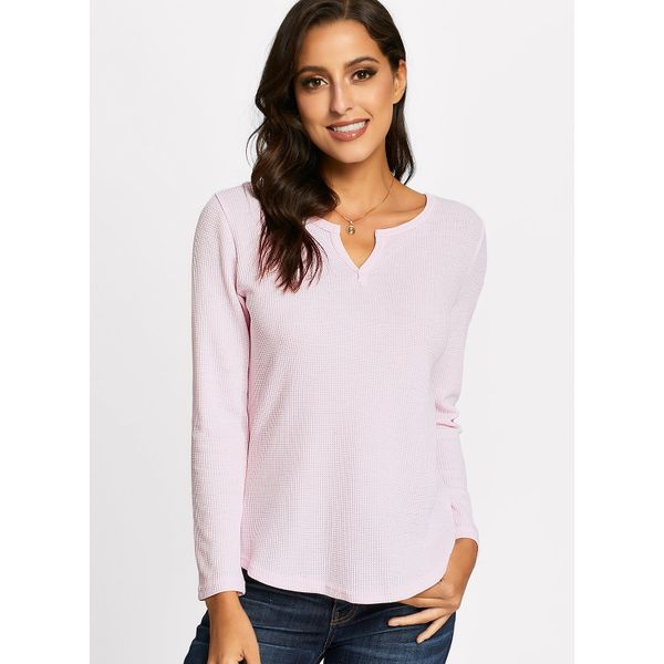 Solid Casual V-Neckline Long Sleeve Blouses (01645376079) 11