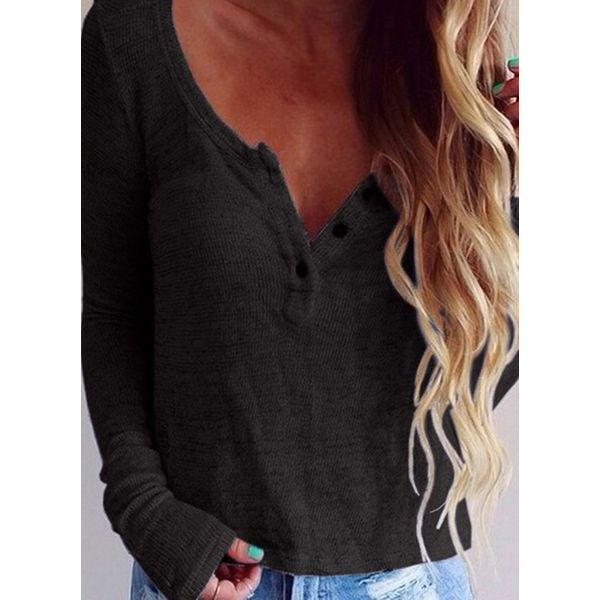 Solid Round Neck Long Sleeve Sexy T-shirts (1685393773, Black