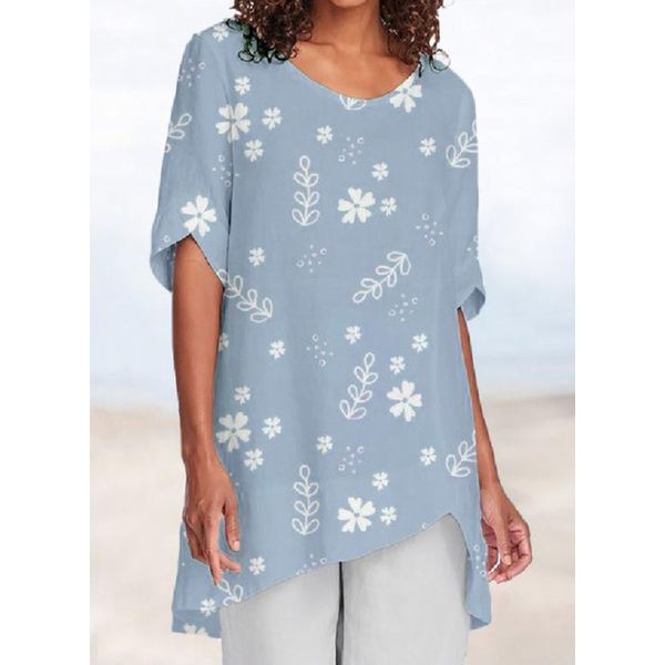 Floral Casual Round Neckline Short Sleeve Blouses (1645579151)