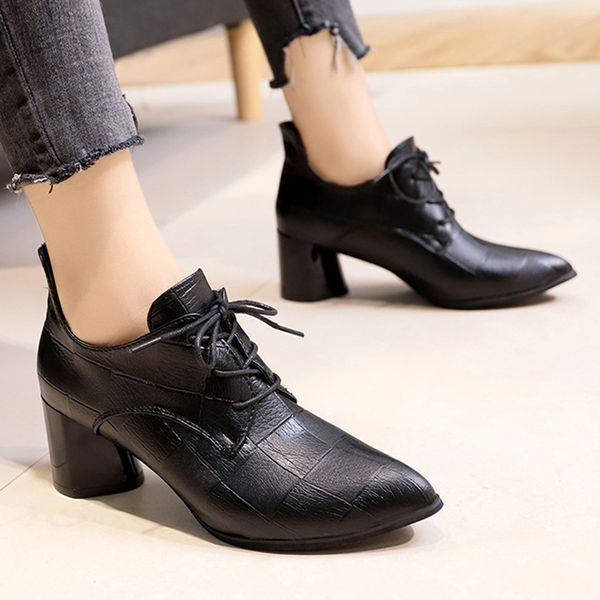 Lace-up Closed Toe Chunky Heel Shoes (1625381408) 2