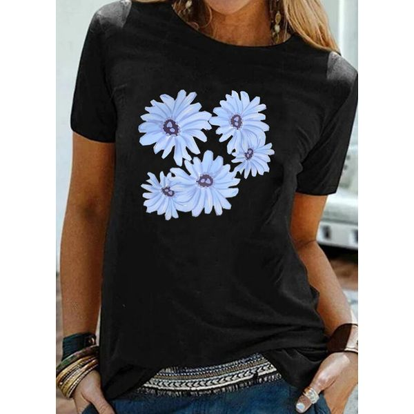 Floral Round Neck Short Sleeve Casual T-shirts (1685592579)