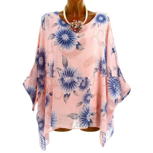 Floral Casual Round Neckline Long Sleeve Blouses (1645379066) 2
