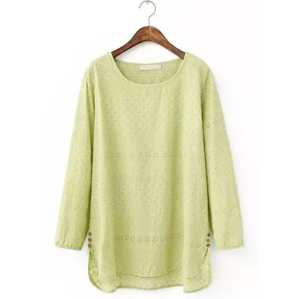 Solid Round Neck Long Sleeve Casual T-shirts (1685381642) 6