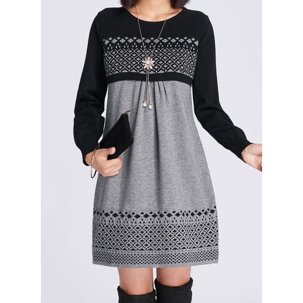 Geometric Long Sleeve Above Knee A-line Dress (01955376113) 11