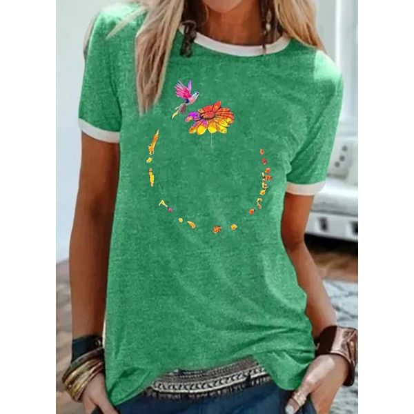Floral Round Neck Short Sleeve Casual T-shirts (1685590804)
