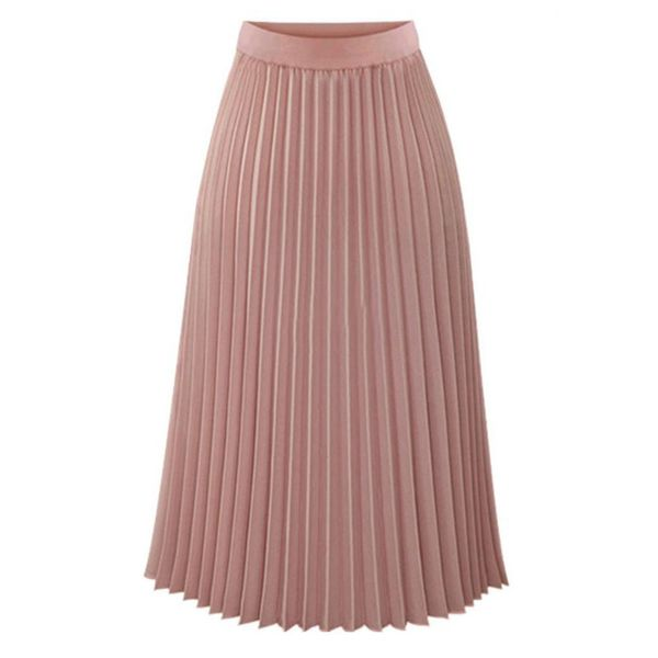 Solid Mid-Calf Casual Skirts (1725377298) 4
