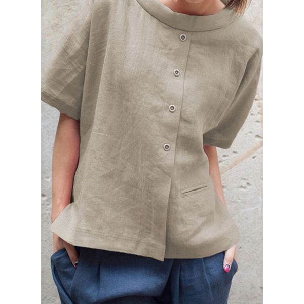 Solid Casual Round Neckline Half Sleeve Blouses (1645584044)