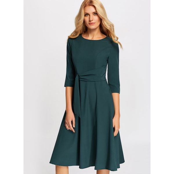 Solid Ruffles 3/4 Sleeves Midi X-line Dress (01955374162) 11
