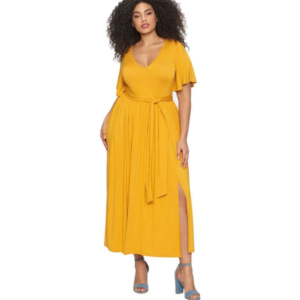 Plus Size Solid Wrap Short Sleeve Maxi X-line Dress (1955380006) 2