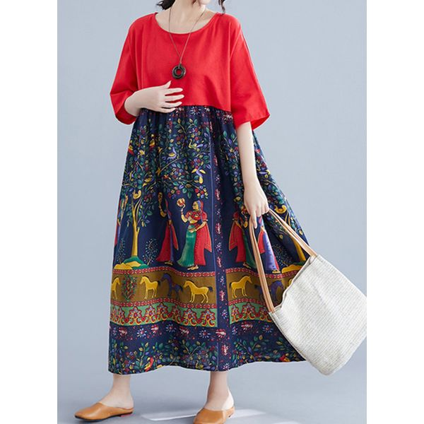 Plus Size Tunic Character Round Neckline Casual Maxi Plus Dress (30345573780)