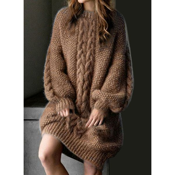 Casual Solid Sweater Round Neckline O Dress (1955448964)