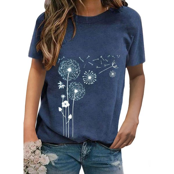Floral Round Neck Short Sleeve Casual T-shirts (1685582474)