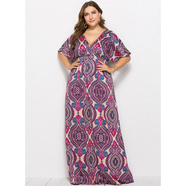 Plus Size Color Block Half Sleeve Maxi X-line Dress (1955380239) 9