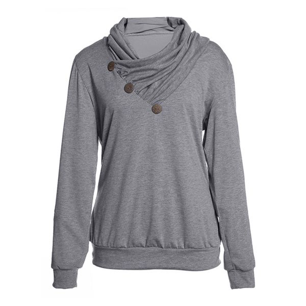Solid Casual Draped Neckline Buttons Sweatshirts (1635382342) 4