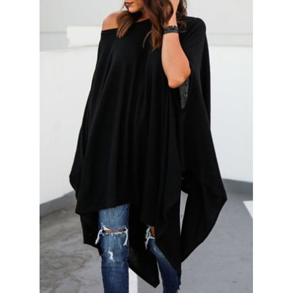 Oblique Neckline Solid Oversized Loose Long A-line Sweaters (1675377413) 3