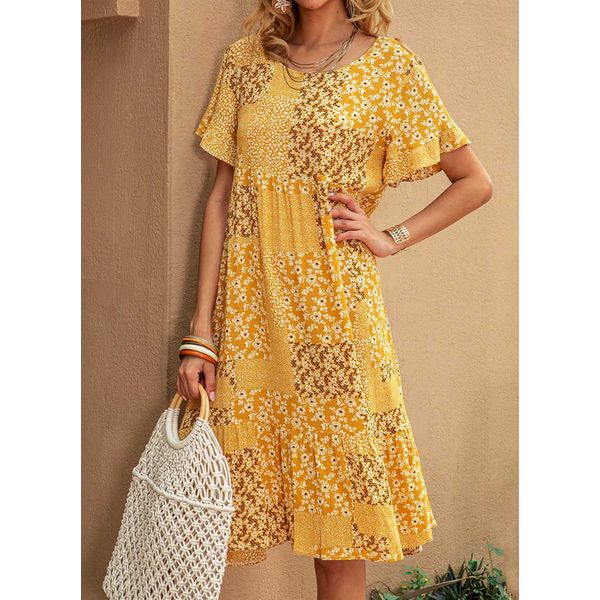 Casual Floral Tunic Round Neckline Shift Dress (1955599519)