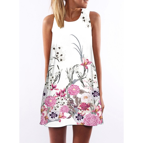 Floral Sleeveless Above Knee Shift Dress (1955141666) 4