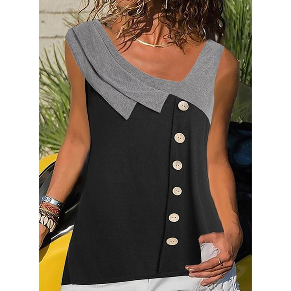 Color Block Casual Round Neckline Sleeveless Blouses (1645581433)