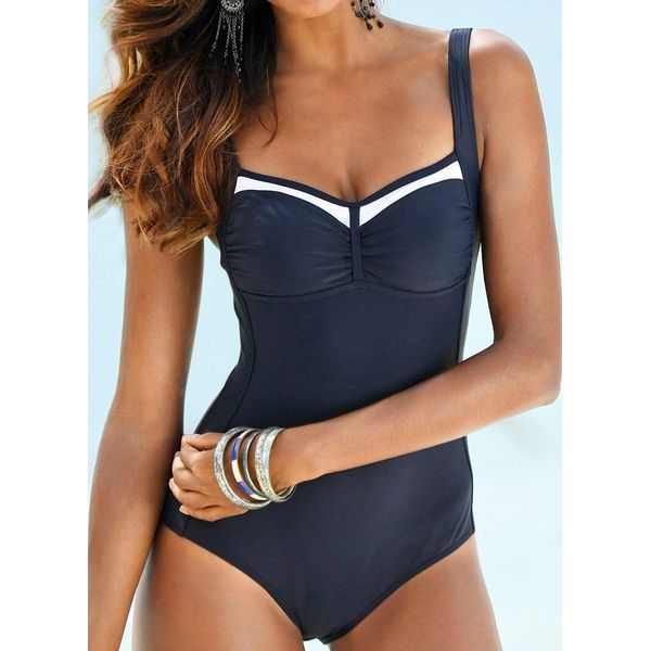 Polyester Color Block One-piece Swimwear (30015536487)